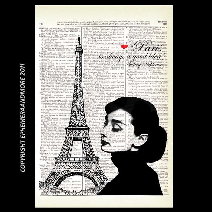 AUDREY HEPBURN Art Print On Vintage Dictionary Page