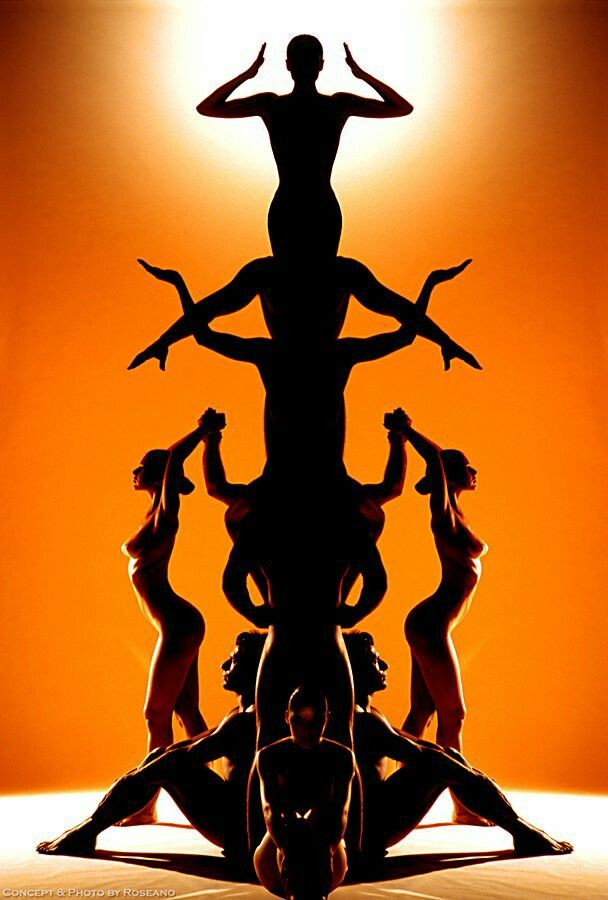 Human Pyramid Human Sculpture Dance Photography Silhouette