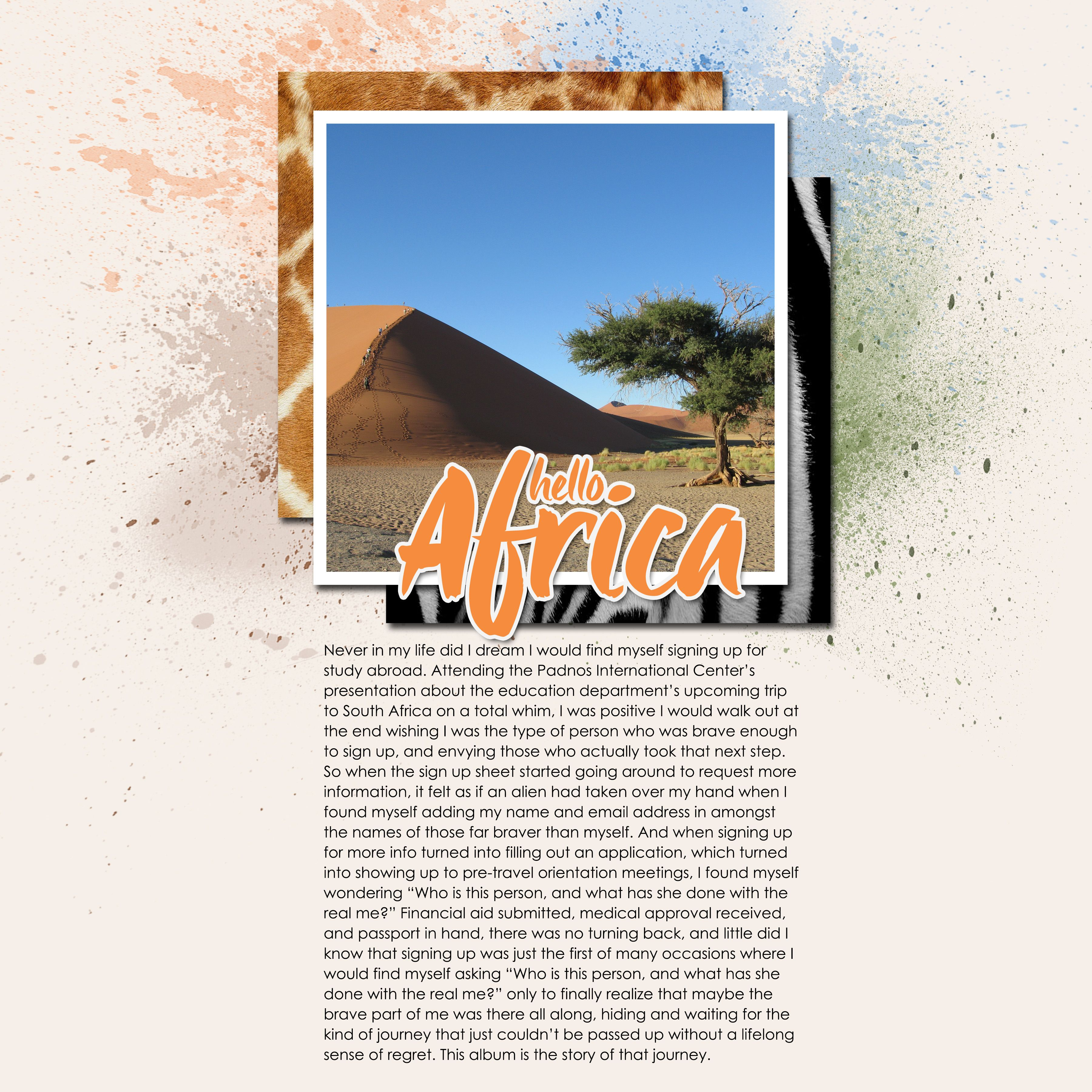 Travel Scrapbooking: An Africa Study-Abroad Album - Intro page | Marmalade Mementos