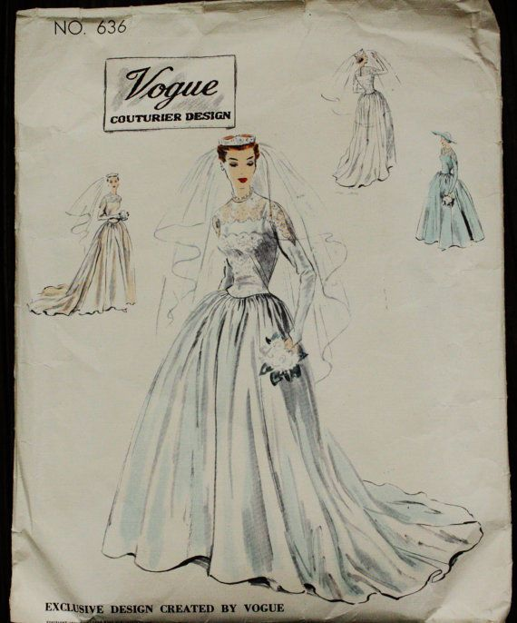 Vogue Couturier 1950s 50s Wedding Dress Bridal Evening Gown Sewing ...