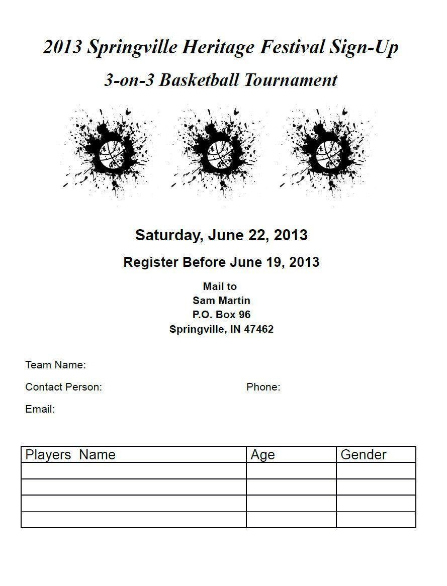 3 On Basketball Tournament Registration Form Template