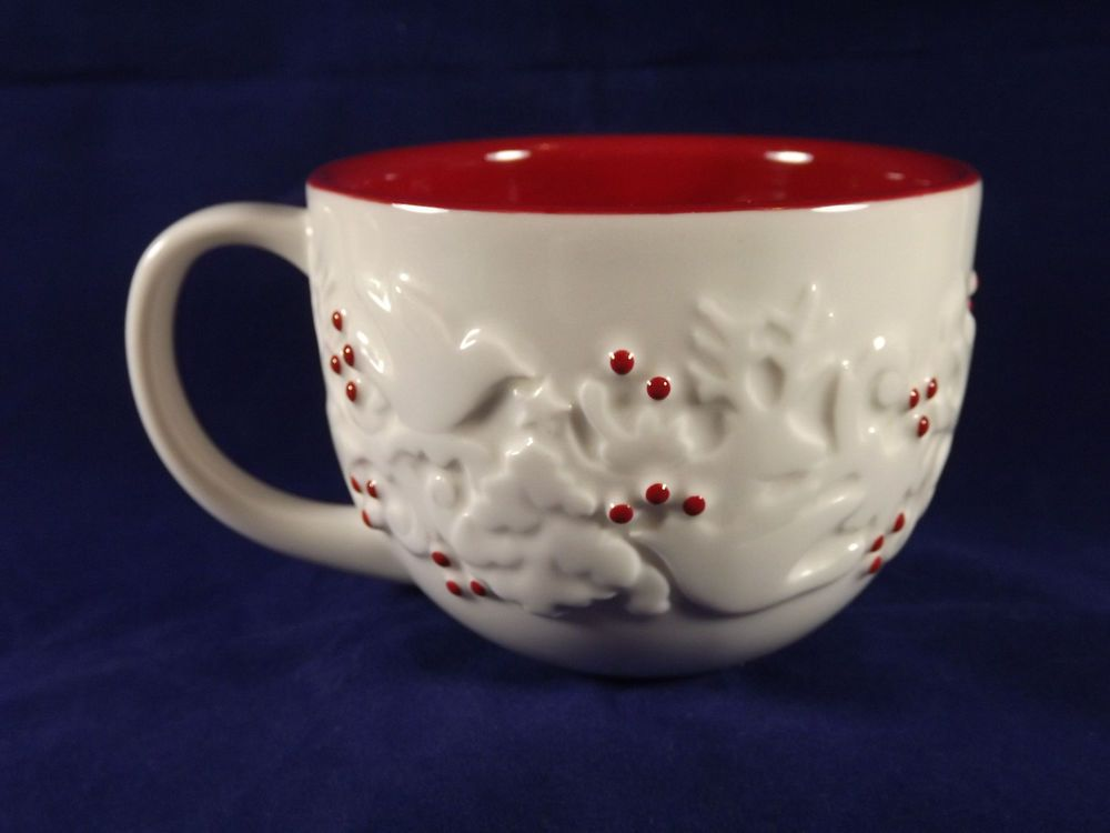 Starbucks Coffee Mug Cup Christmas 2008 Holly Berries Doves Trees Red White Nice #Starbucks #Christmascup