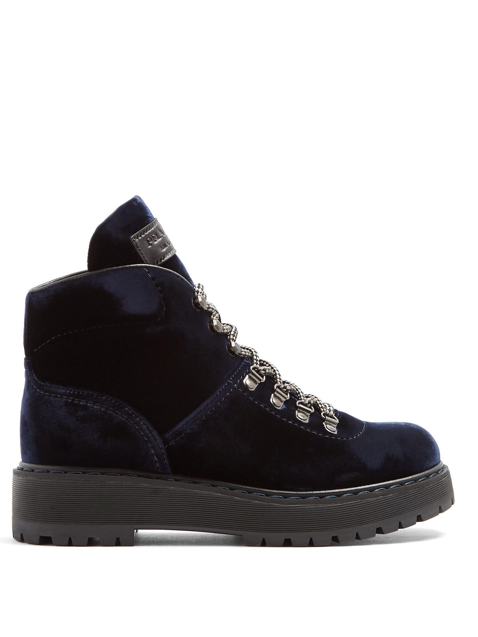 9a37625d76ba Click here to buy Prada Lace-up velvet après-ski boots at MATCHESFASHION.