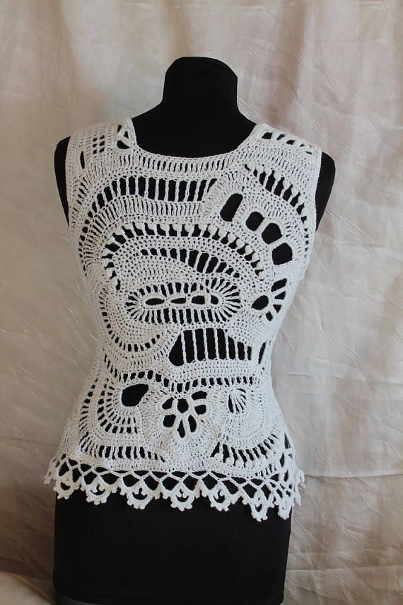 Crochet Tops, Ivory Cotton Freeform Crochet Tank , Summer top, one ...