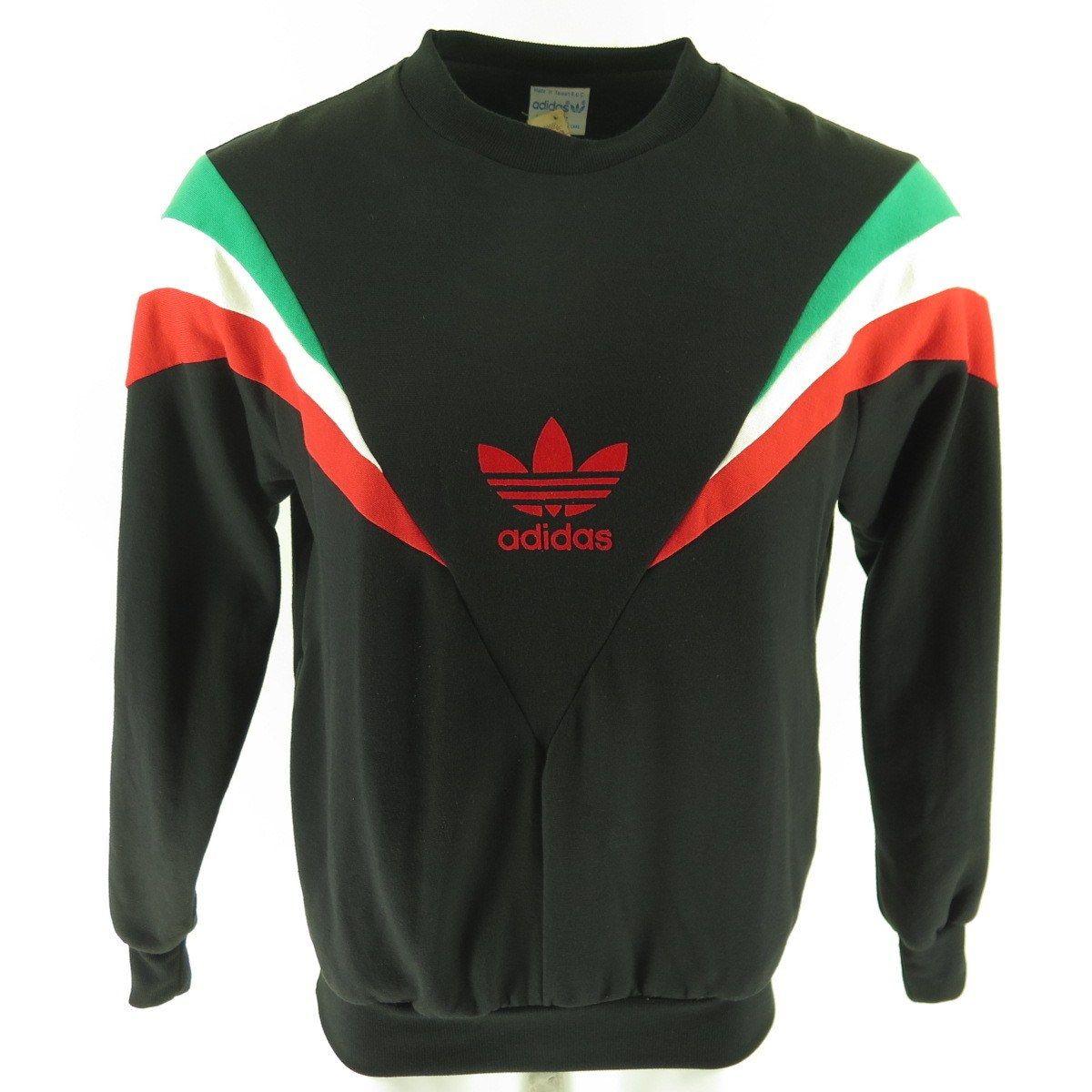 e64aec4e0bceb Vintage 80s Adidas Trefoil Sweatshirt Mens L Deadstock Flock Print ...