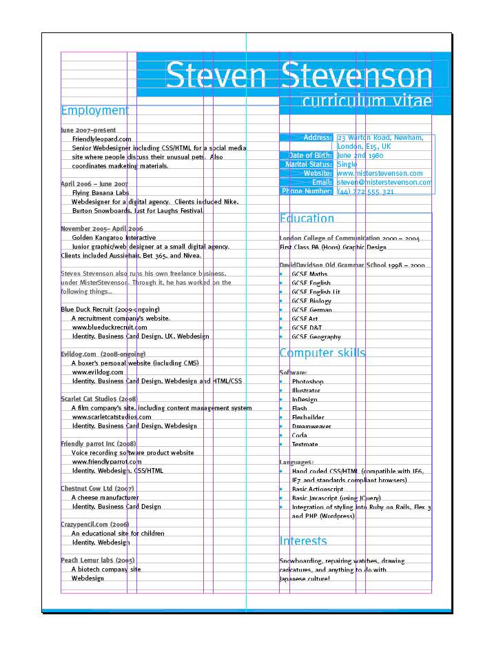 Create A Grid Based Resume Cv Layout In Indesign Resume Design Layout Graphic Design Resume Resume Design Template