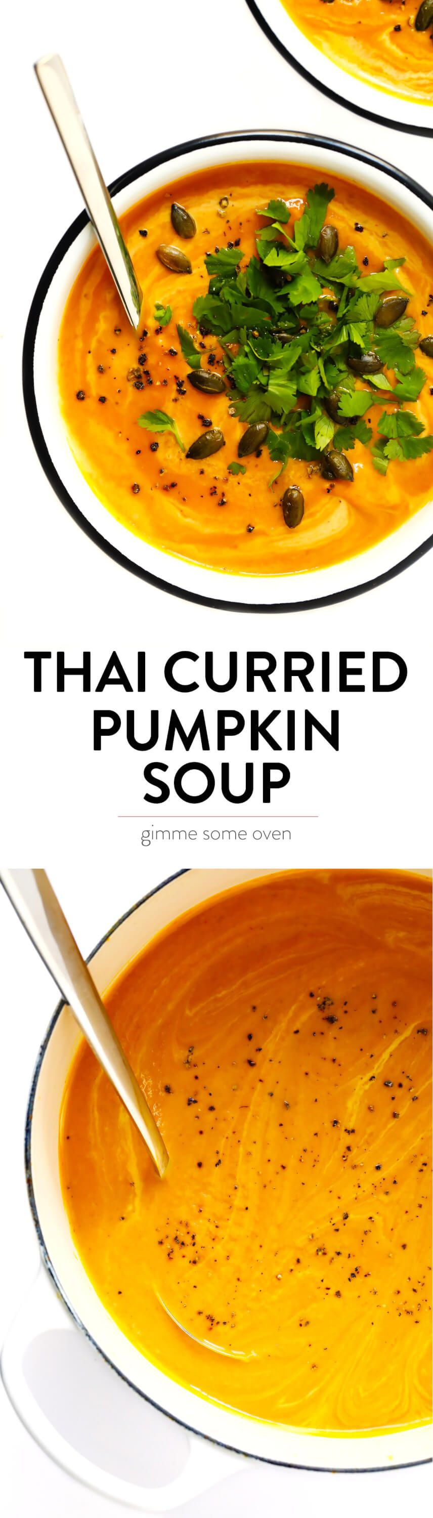 This 20Minute Thai Curried Pumpkin Soup is the best Its quick and easy to make naturally glutenfree and vegan and made with the best warming curry flavors Perfect for win...