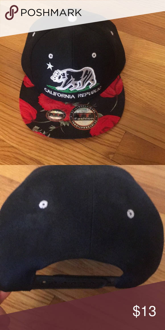 75aba13e0bb Trendy California Republic Cap Brand New Stylish Cap. Imprint of Roses on  bill solid black