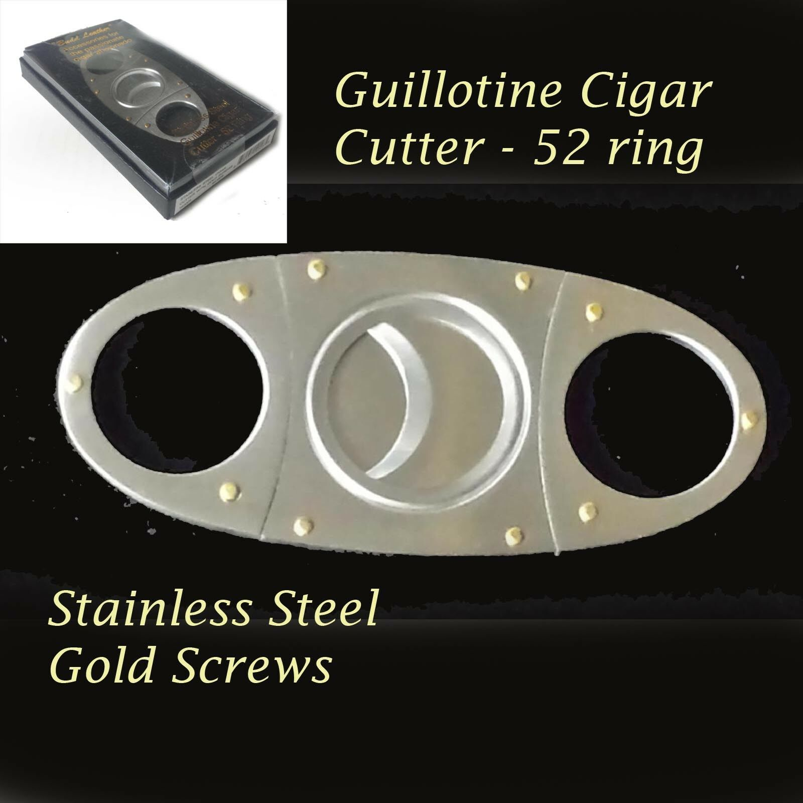 Budd leather guillotine cigar cutter 52 ring stainless
