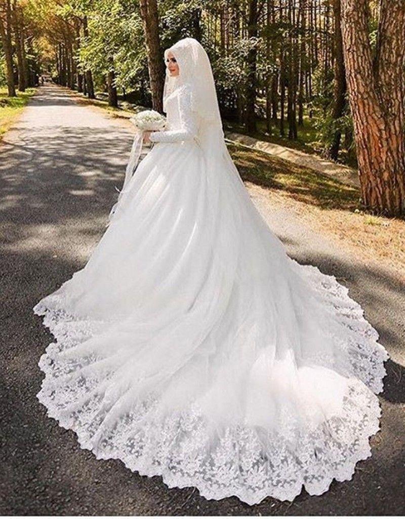 Vestido de noiva arabic muslim luxury long sleeve wedding dress with