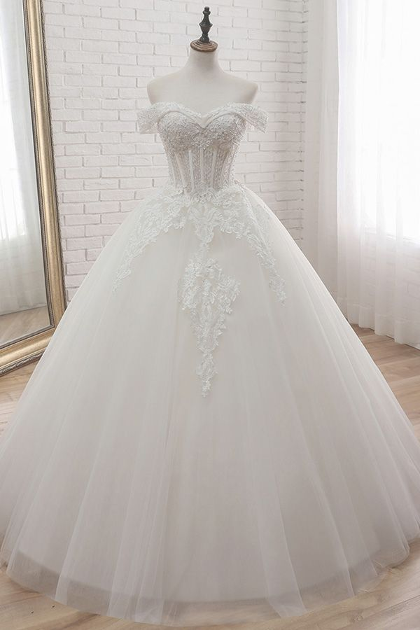 [148.50] Glamorous Tulle Off-the-shoulder Neckline Ball Gown Wedding Dress With Lace Appliques & Beadings
