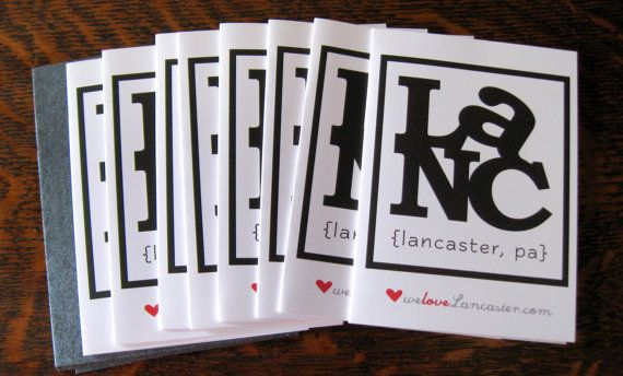 8 We Love Lancaster PA Blank Notecards by BUiLDiNGCHARACTER, $14.00