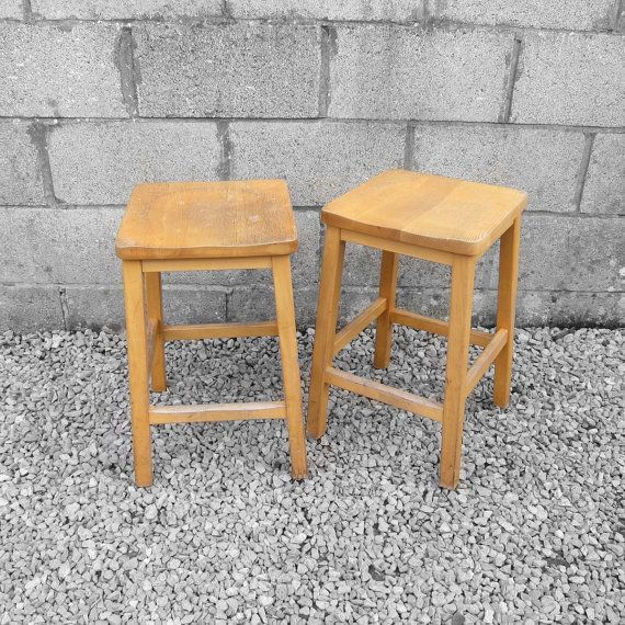 Vintage 1950s Old Wooden School Chemistry Lab Stools These Are In Fabulous  Condition And Would Look