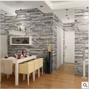 Room · Chinese Style Dining Room 3D Wallpaper Stone Brick Design ...