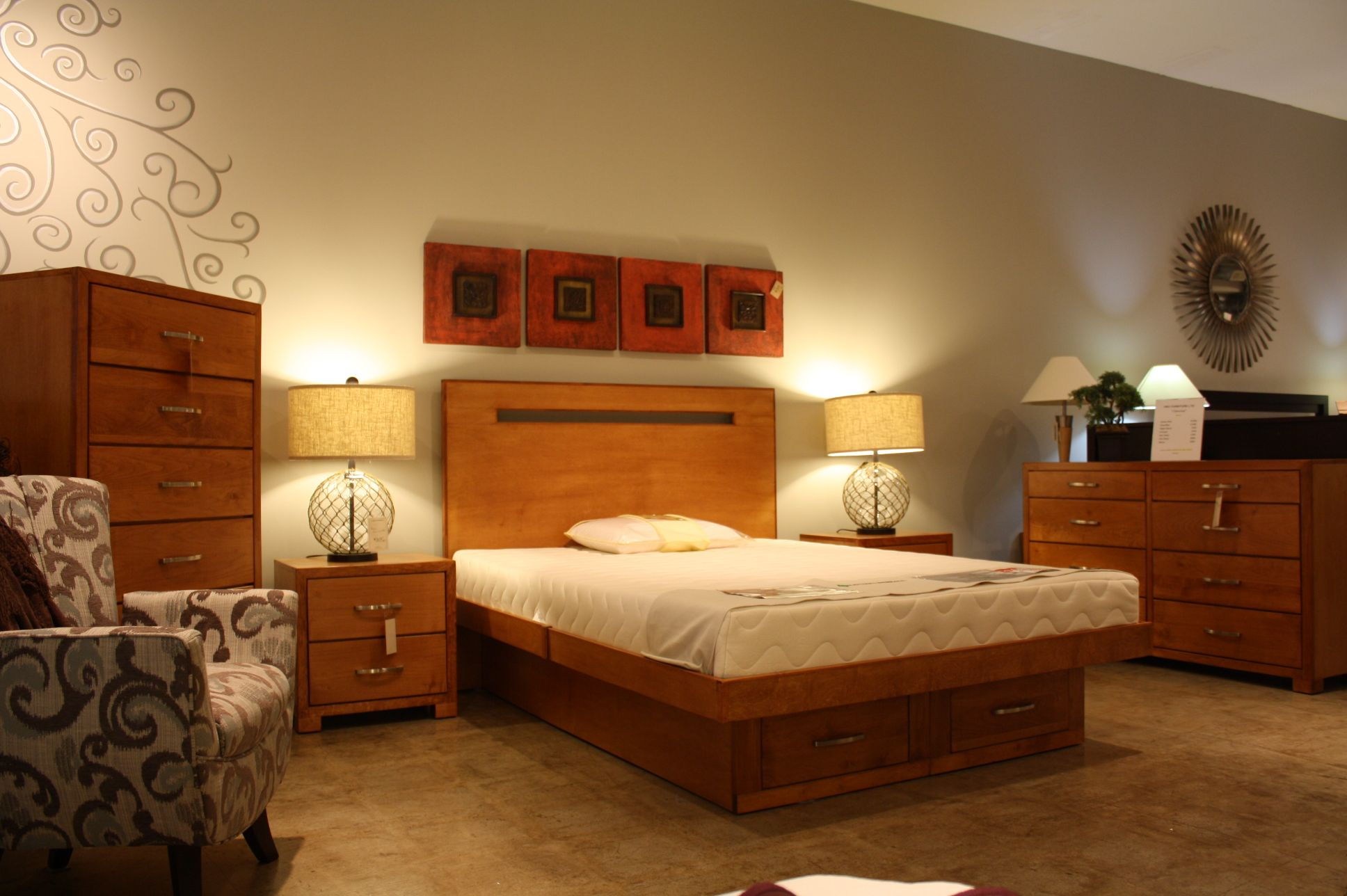 Real Maple Bedroom Set Queen Size Platform Bed With Storage Choice Of Stains And Handles