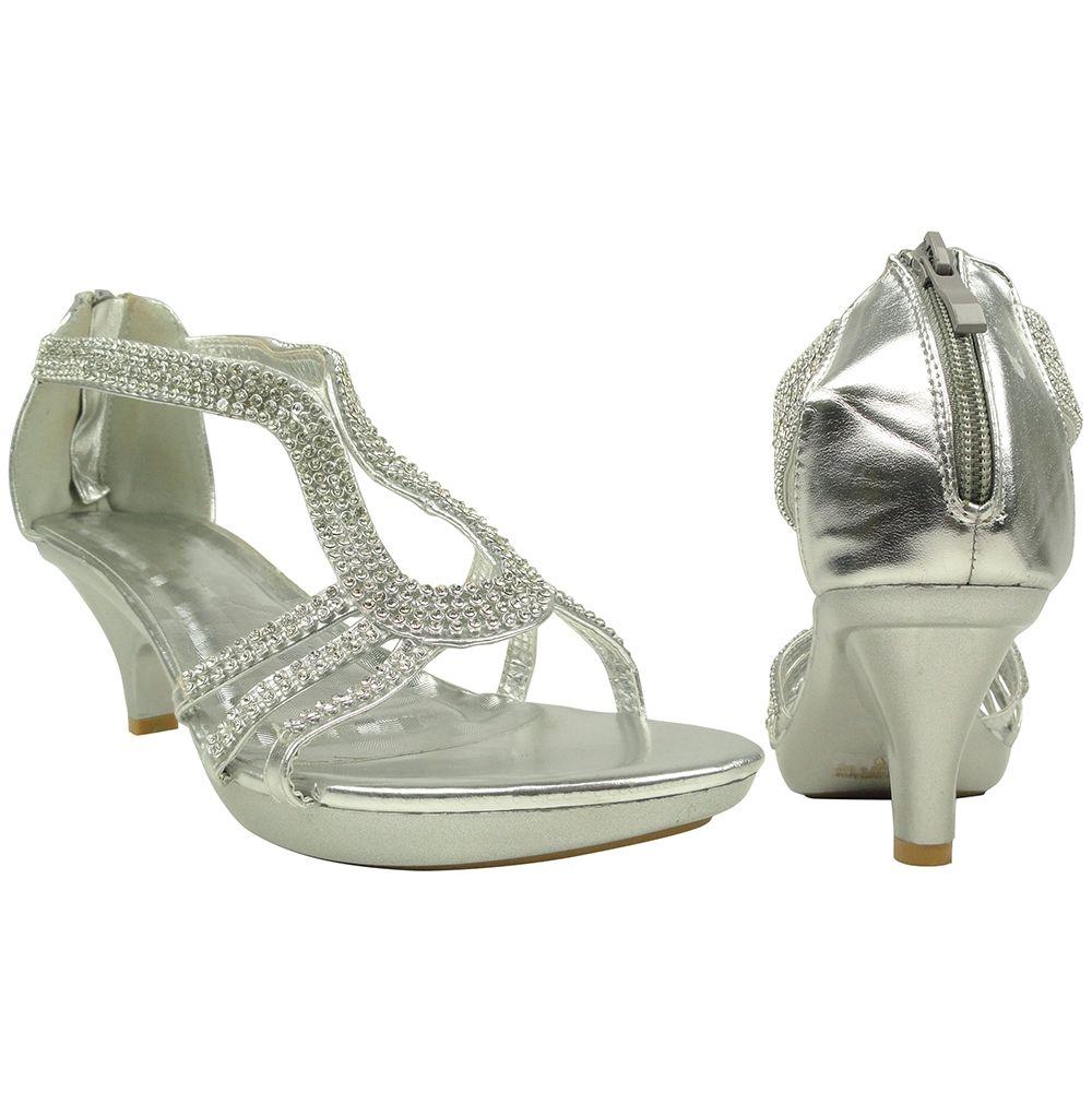 Womens Low Platform Heel Sandals Embellished Drop Strap Dress Shoes Silver