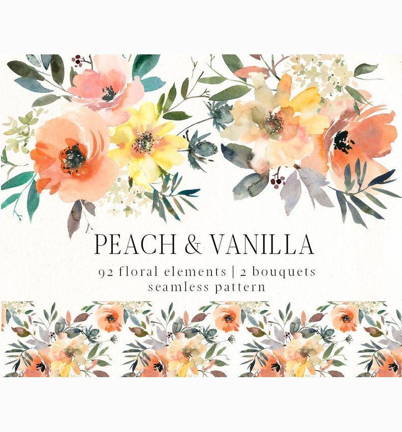 Peach Vanilla Watercolor Flowers Png Clipart Yellow Orange Etsy Watercolor Flowers Flowers Clip Art