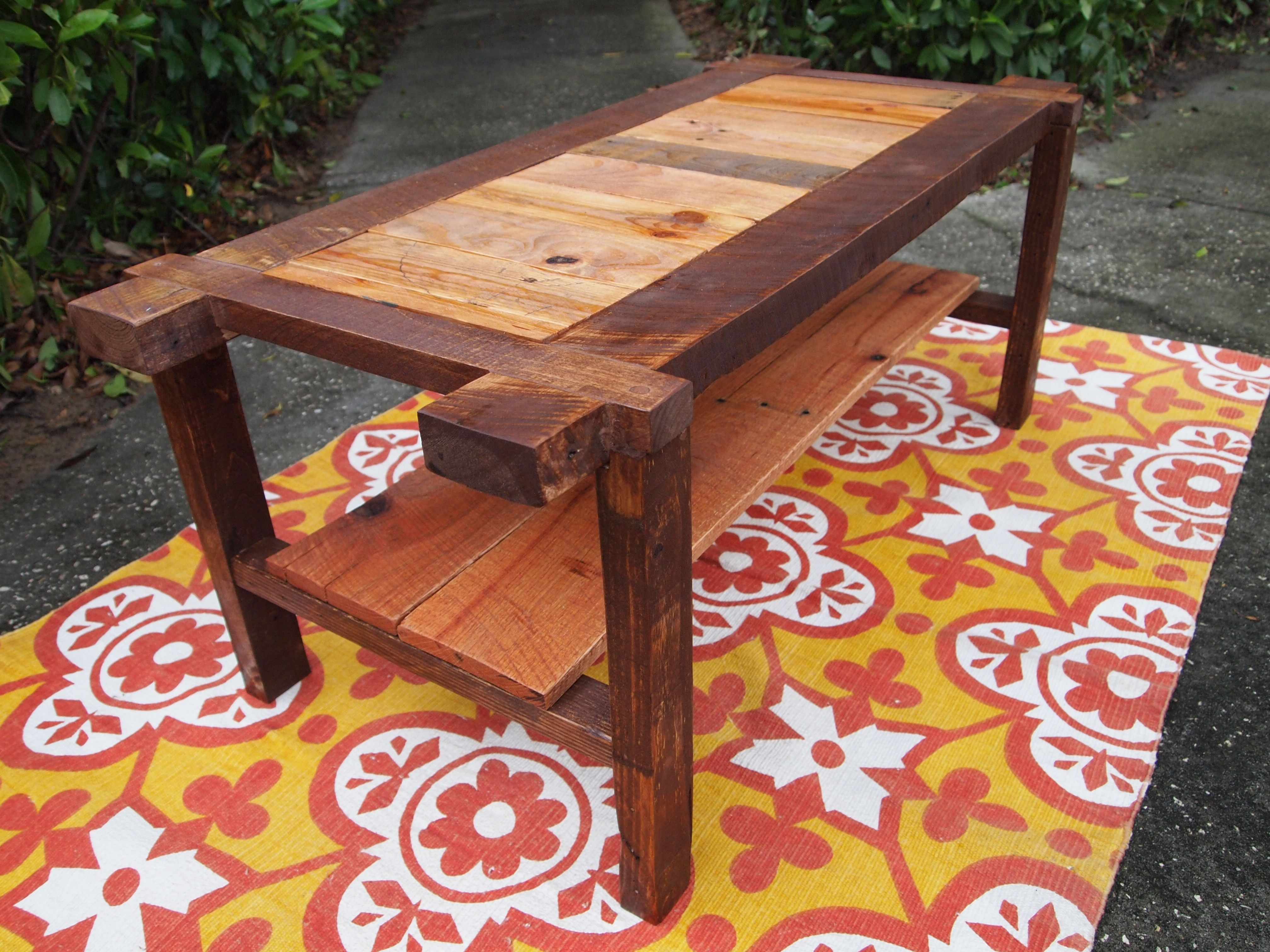 Rustic Mix Bench Style Coffee Table Features A Unique Mix Of