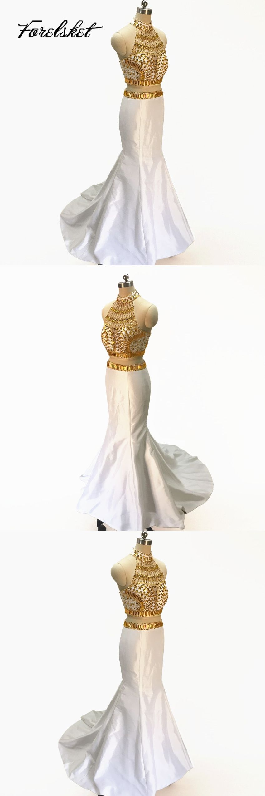 Gold beads mermaid prom dress two piece evening gown high neck