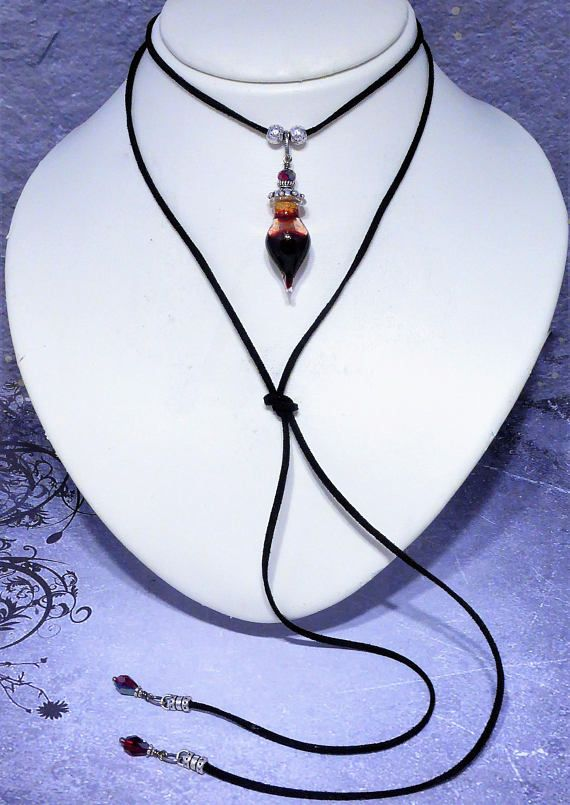 Versatile gothic blood vial pendant lariat choker necklace that can versatile gothic blood vial pendant lariat choker necklace that can be worn different ways including as a wrap bracelet created with a teardrop g mozeypictures Image collections