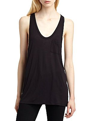 T by Alexander Wang Classic Pocket Tankeekend-ready racerback tank in an oversized silhouette with a plunging v-neck, single front patch pocket and length that hits below the hips. Rounded v-neck Sleeveless Single front patch pocket Racerback Longer length hits below the hips Rayon Hand wash Imported