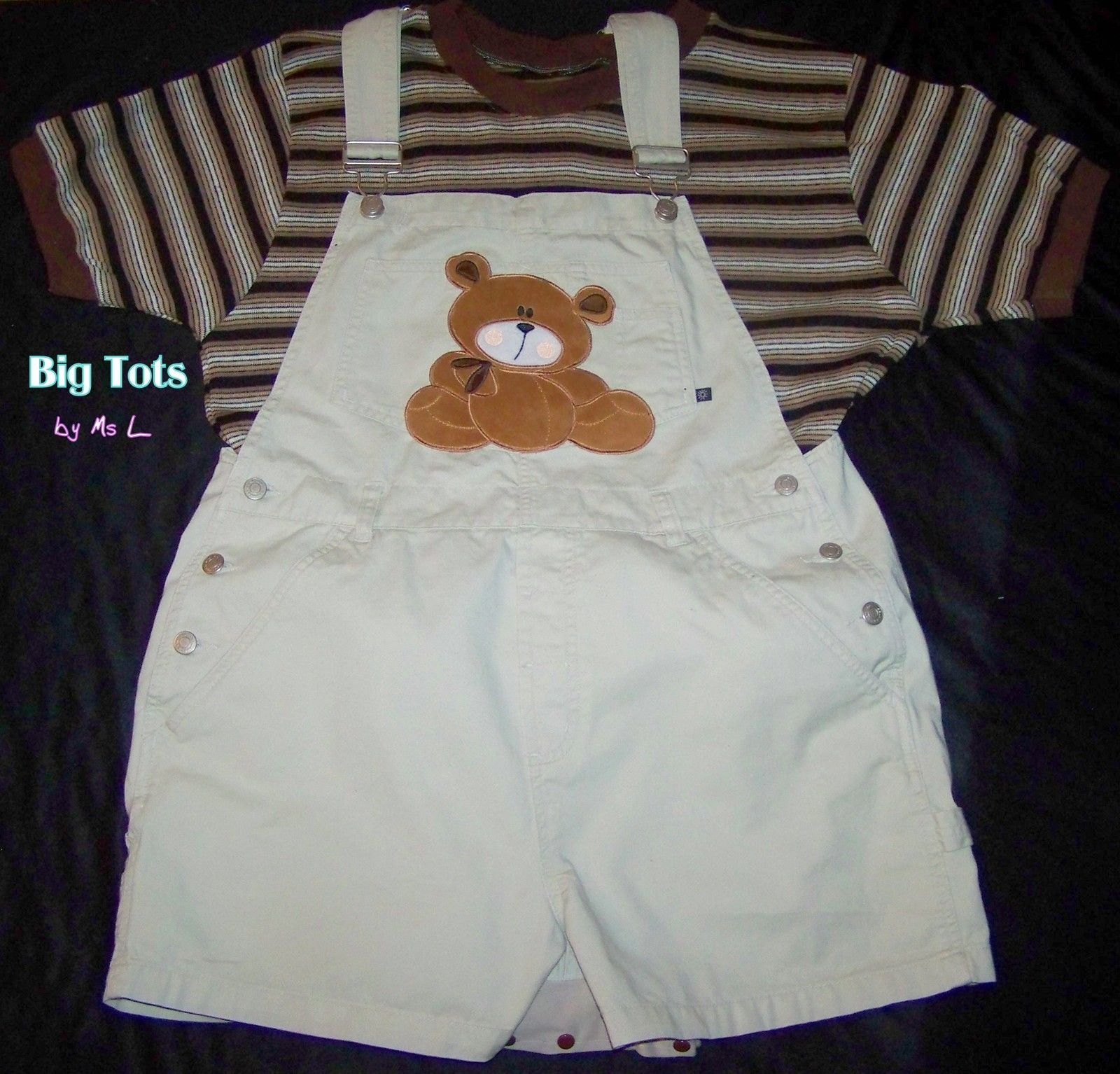 "Adult Baby Teddy Bear Shortalls Onesuit Set 46"" Hip MSL Big Tots 