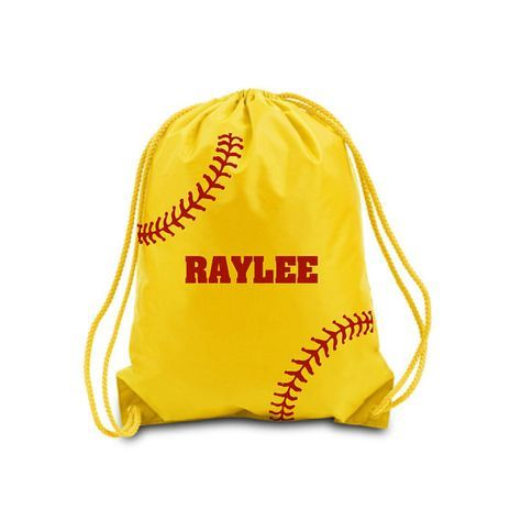 Personalized Drawstring Bag Softball By