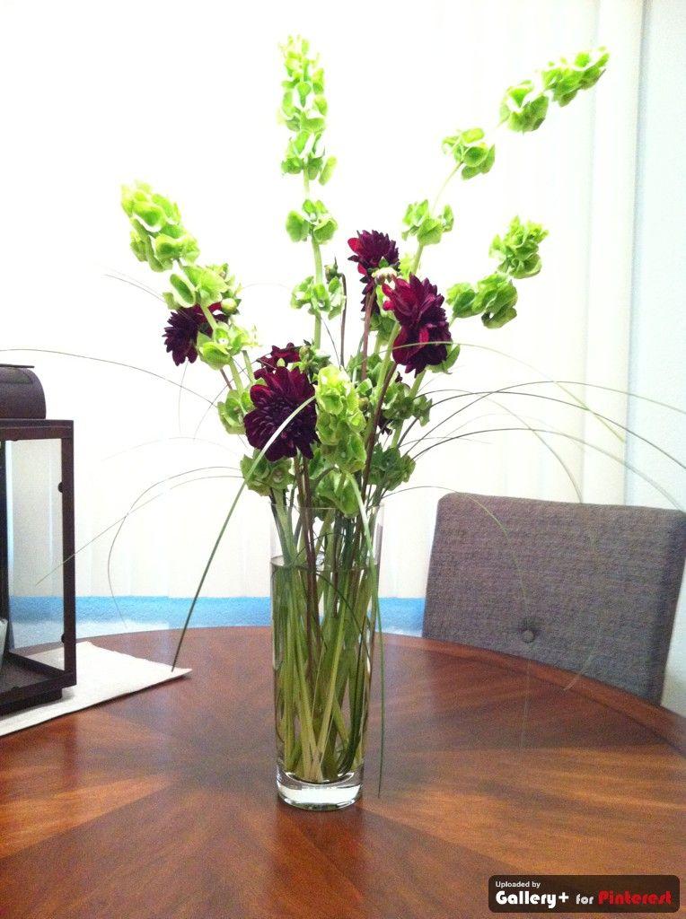 Dalias, Bells of Ireland & Grass Flower arrangements