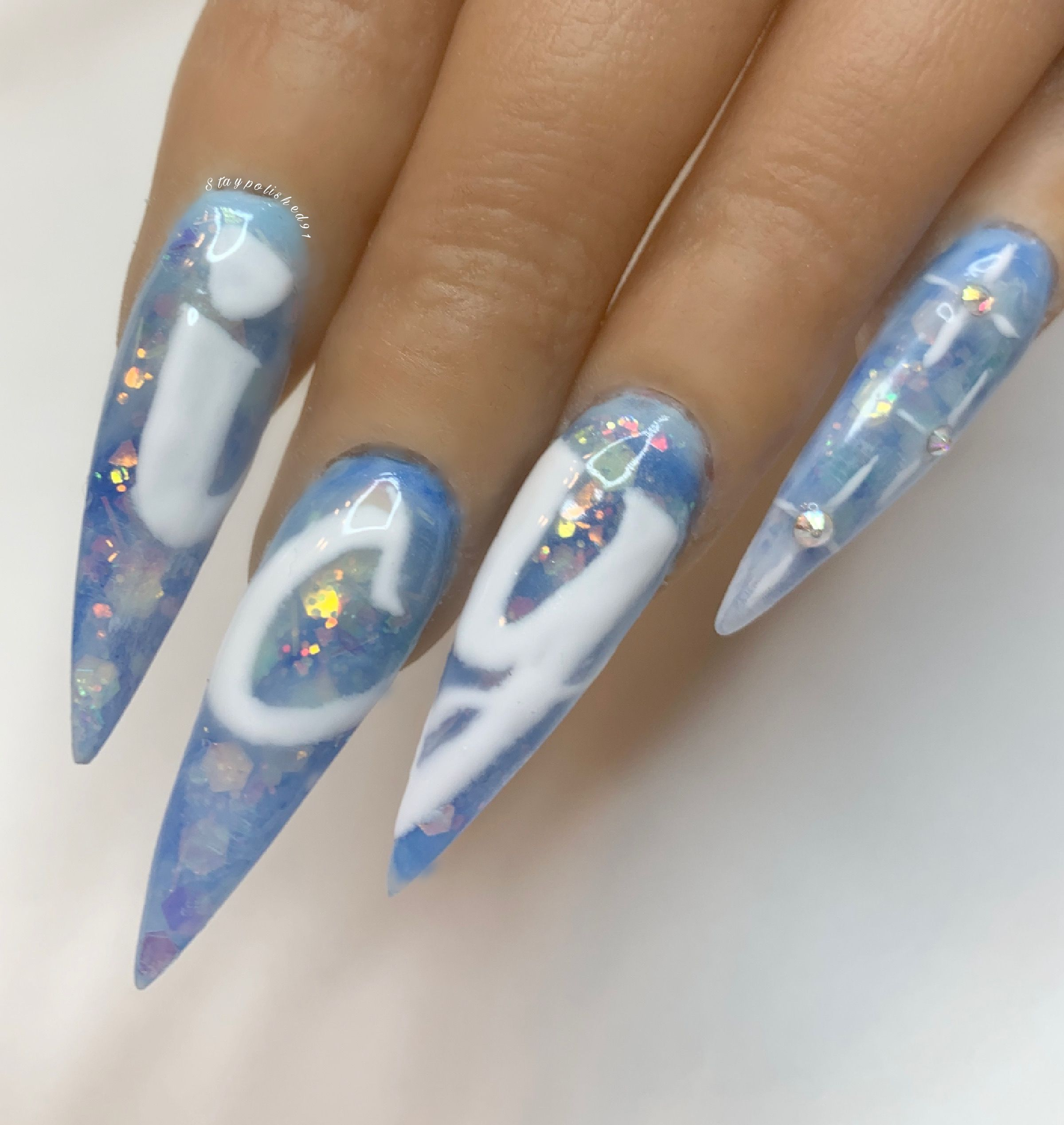 Ice Drip Drip Nails Blue Nails Blue Acrylic Nails