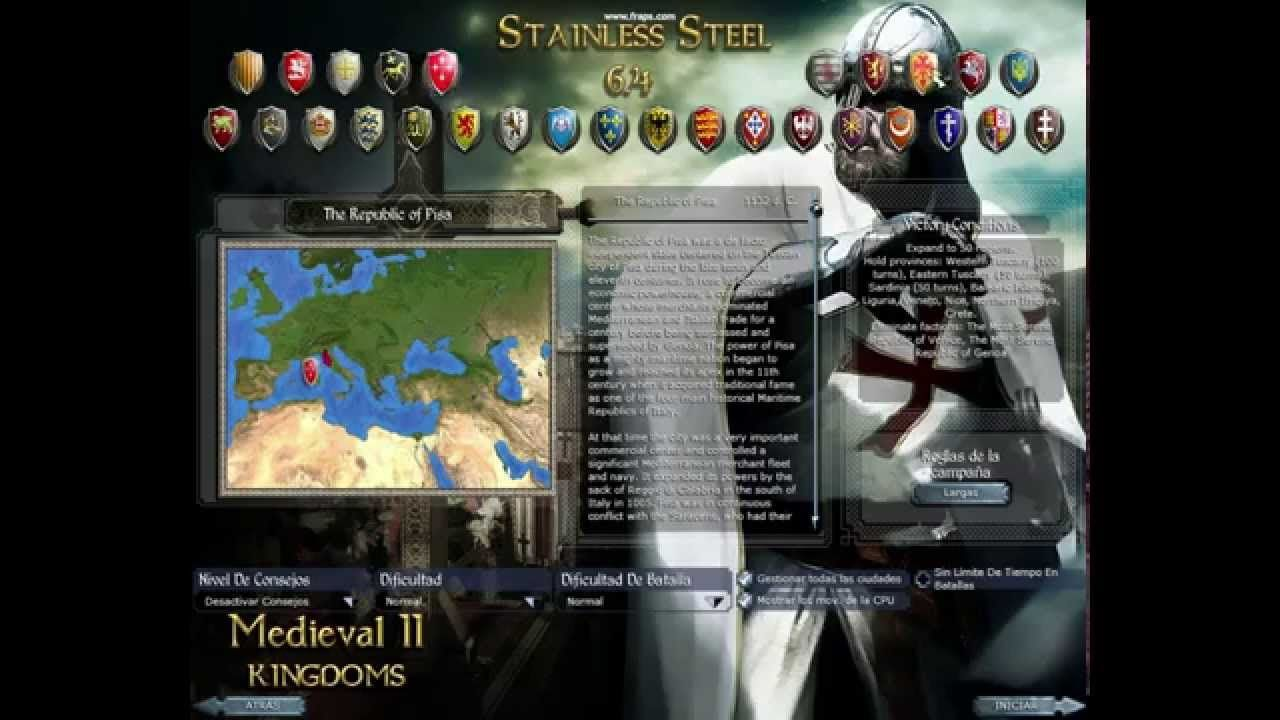 Medieval 2 Total War Stainless Steel 6 4 Sub Mod Map Adjustment