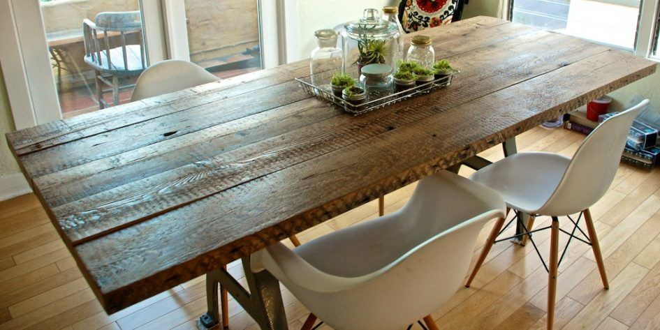 Furniture Diy Long Rectangle Solid Brown Reclaimed Wood Dining