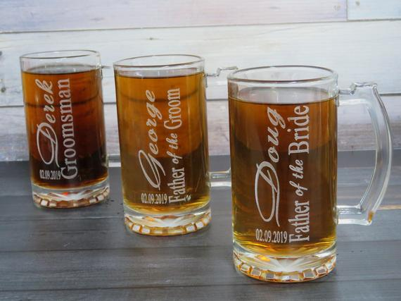 Pint Glass Wedding Favour, Father of the Bride Groom Wedding Gift