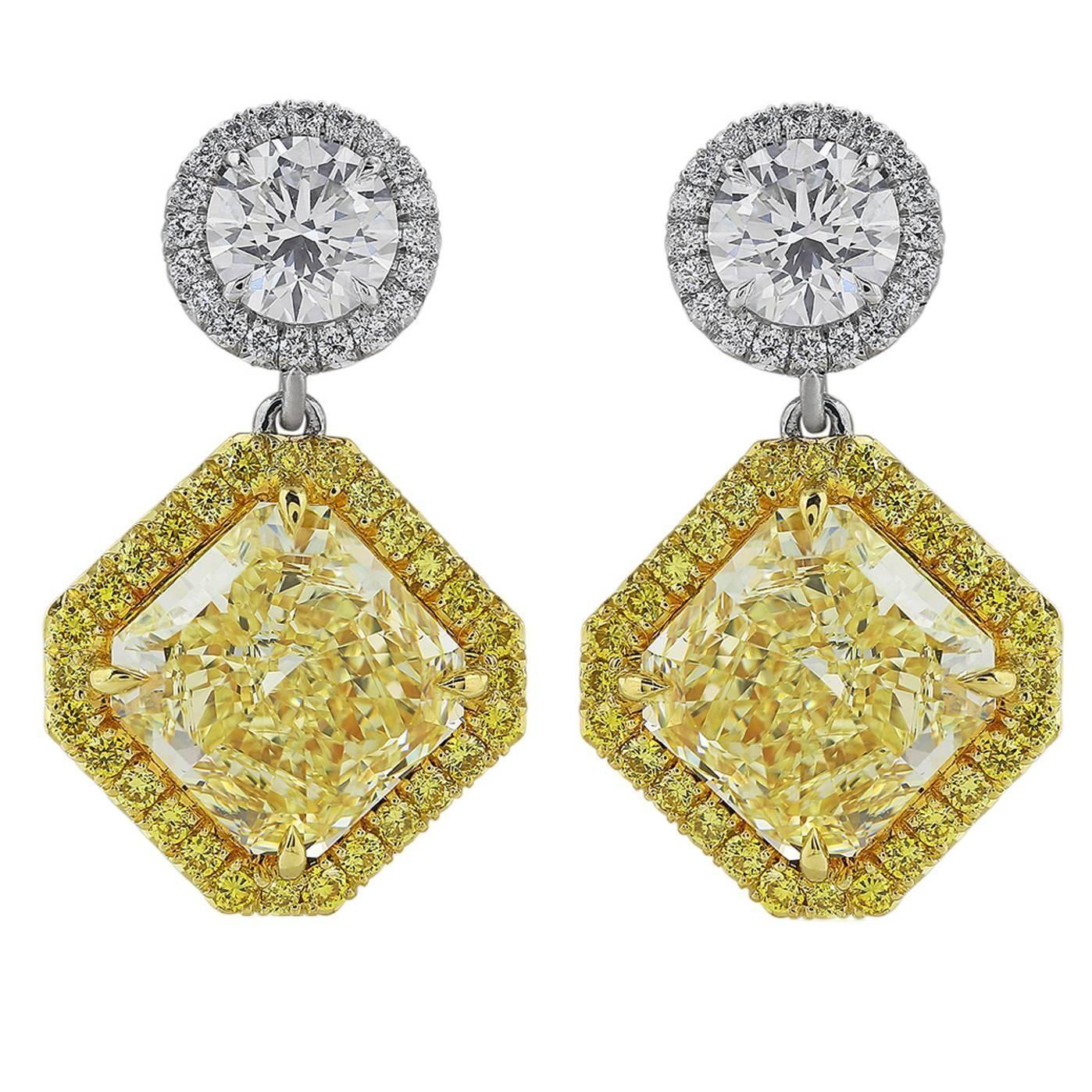 Custom Made 5 39 Carats Canary Diamonds Gold Platinum Drop Earrings 1stdibs Com Yellow Diamond Earring Drop Earrings Vintage Drop Earrings