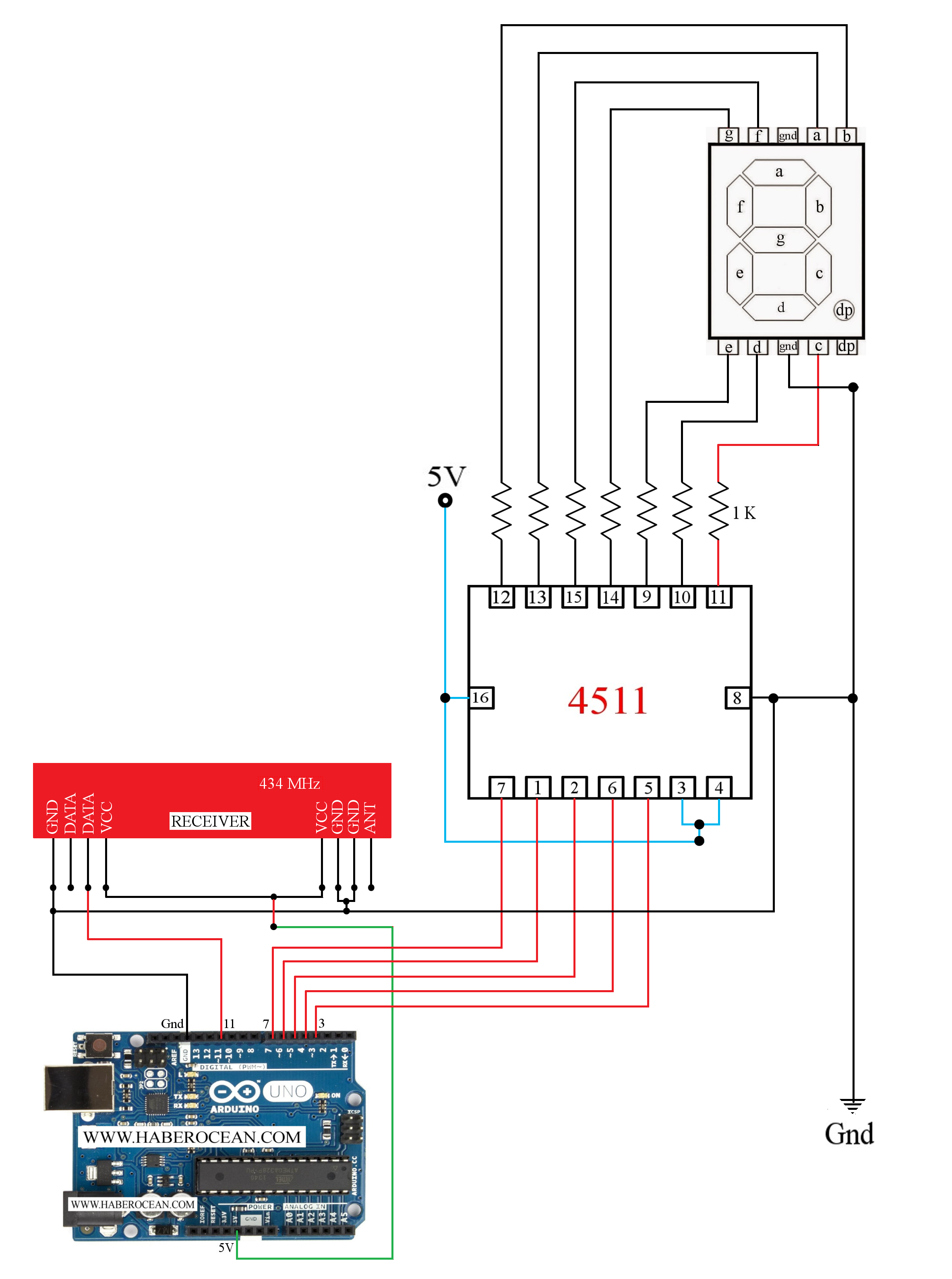 Pin By Febin Antony On My Funny Electronics In 2018 Pinterest Rf Module Circuit Diagram Change The Number Displayed A Seven Segment Display Using 43392 Mhz And