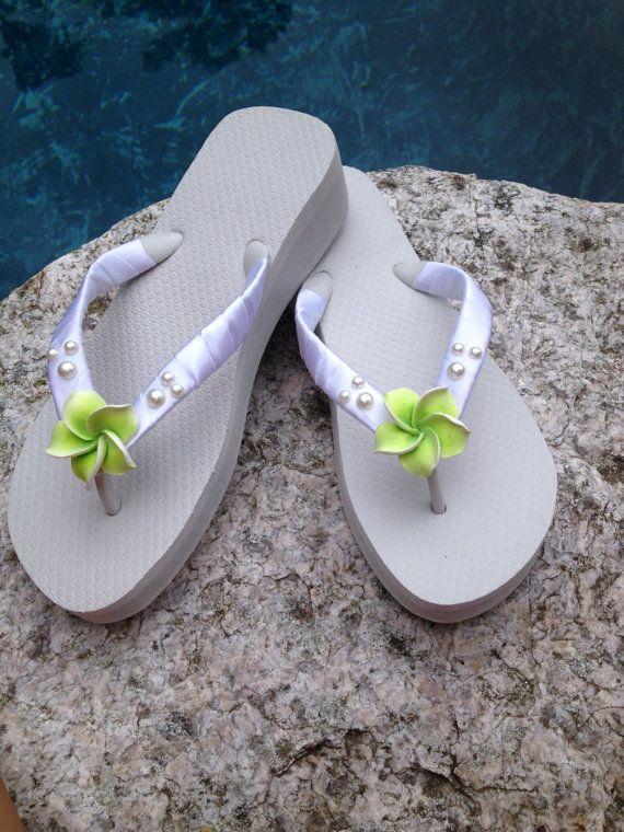 50183b76f96876 Bridal Flip Flops  Wedges.Handmade Hawaiian by RocktheFlops