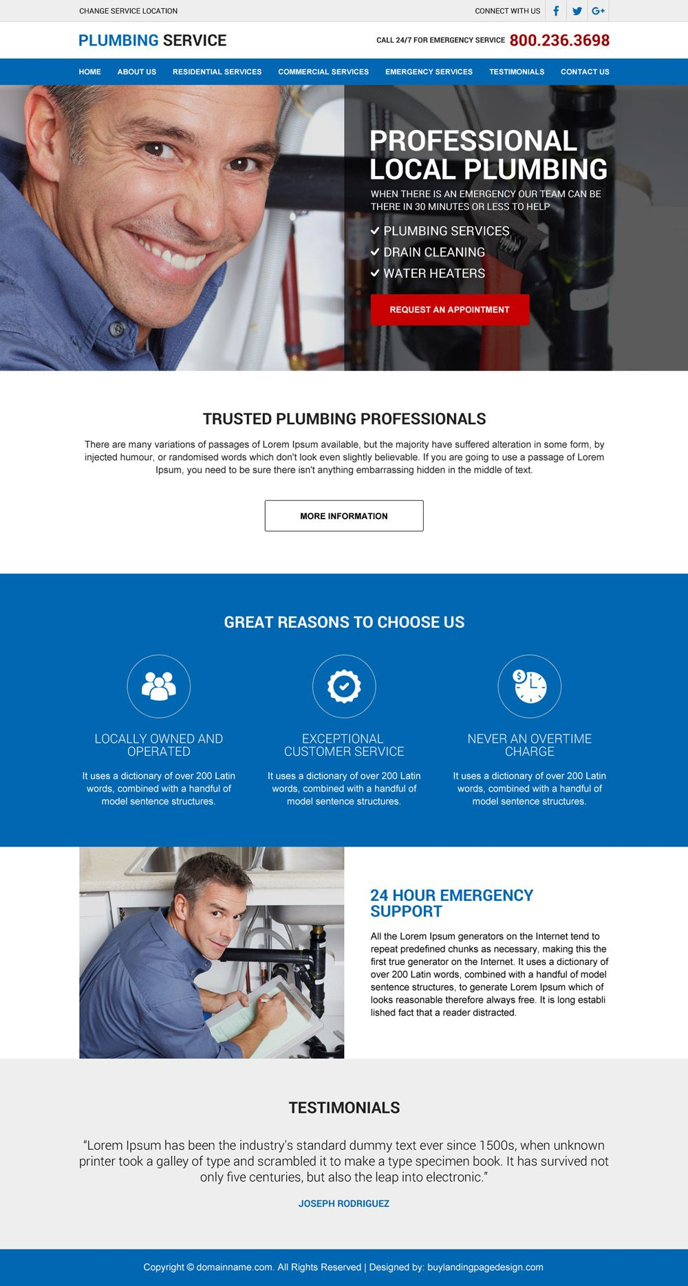 Professional Local Plumbing Responsive Website Design Web Design Website Design Responsive Website Design
