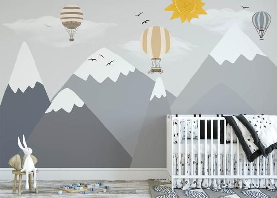 Gray Mountains Wallpaper Removable Fabric Hot Air Balloon Nursery Wall Decor Snow Mountain Kids Wall Paper White And Grey Mountain Wall Art With Images Hot Air Balloon Nursery Nursery Wall Decor