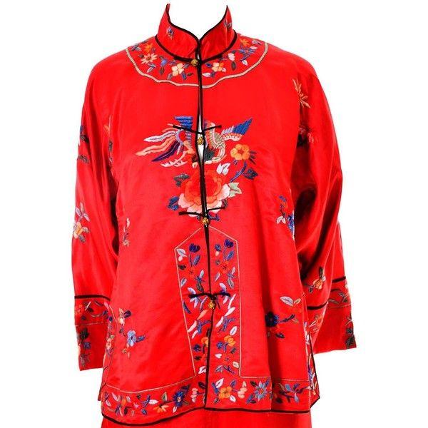 1940s Vintage Chinese Pajamas Red Silk Embroidered Top and Bottoms (520 CAD)  ❤ liked 66d6125c6