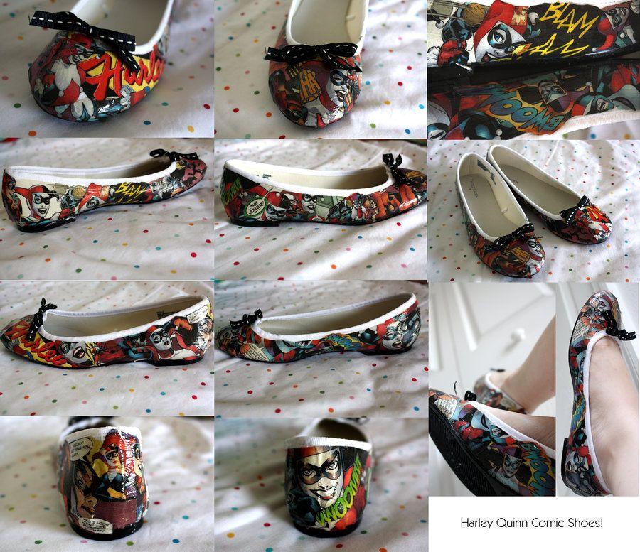 38588bdf148c Harley Quinn Comic Shoes by Cat-The-Rawr