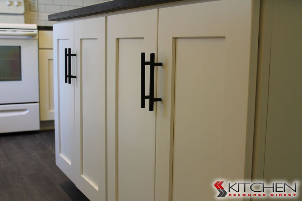 This customer installed simple black cabinet for Shaker style kitchen handles