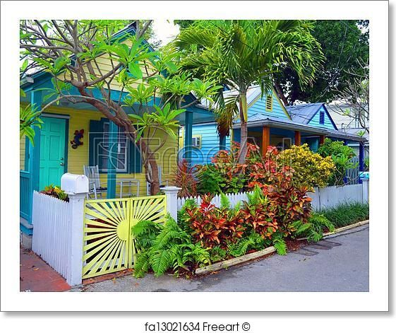 Free Art Print Of Colorful Key West Cottages. A Row Of Wood Frame .
