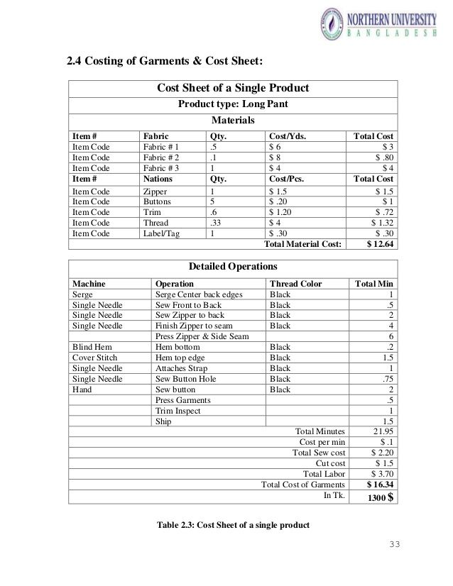 cost sheet for a garment factory