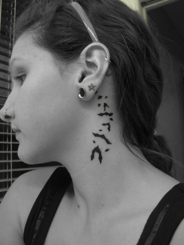 Tiny Bat Tattoos Behind Ear Jpg 600 799 Bats Tattoo Design Neck Tattoo Side Neck Tattoo