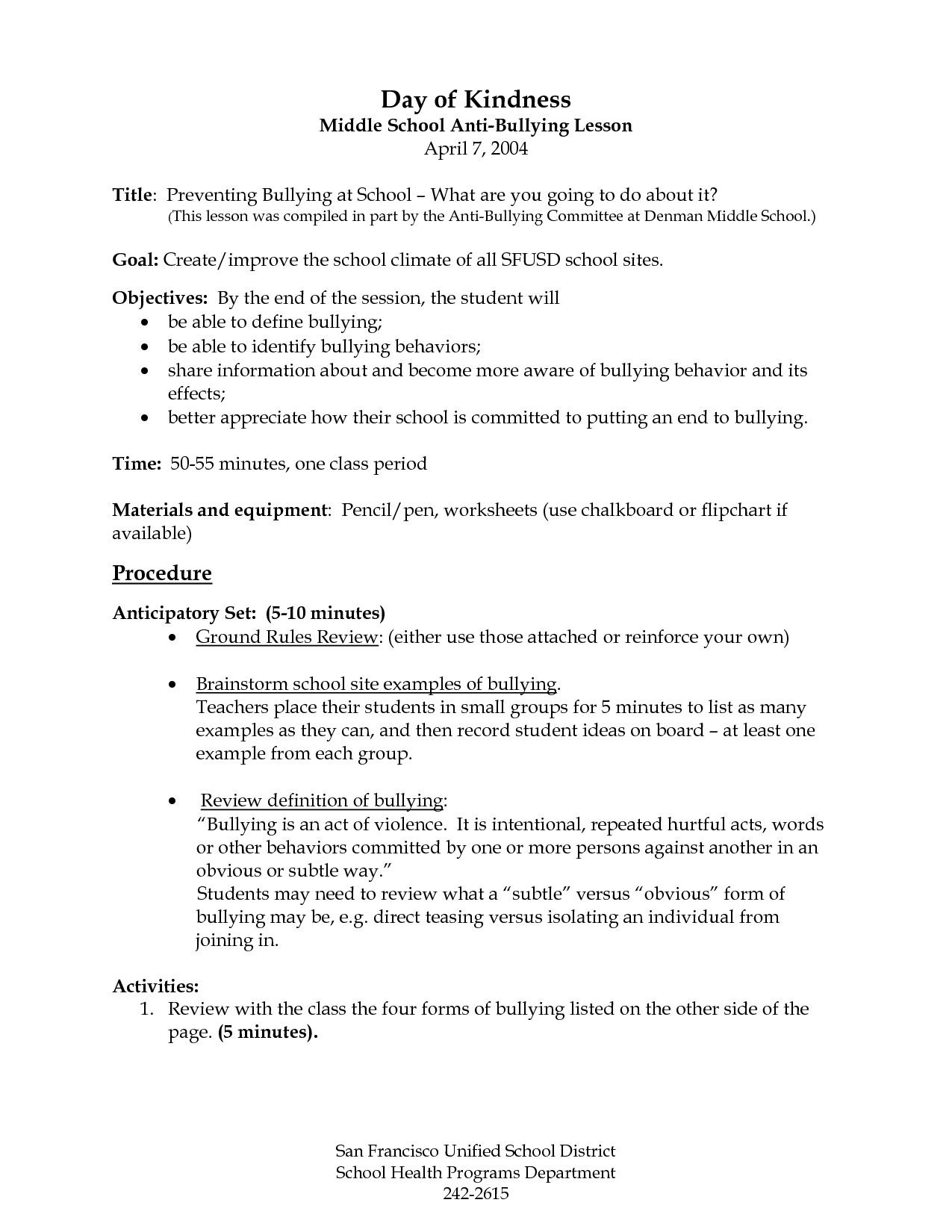 Health Worksheets For Middle School In
