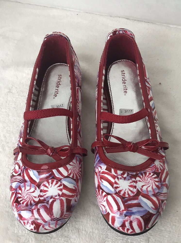 25fd235500b2 Stride Rite Girls Shoes Size 13 Christmas Candy Peppermint Flats Holiday