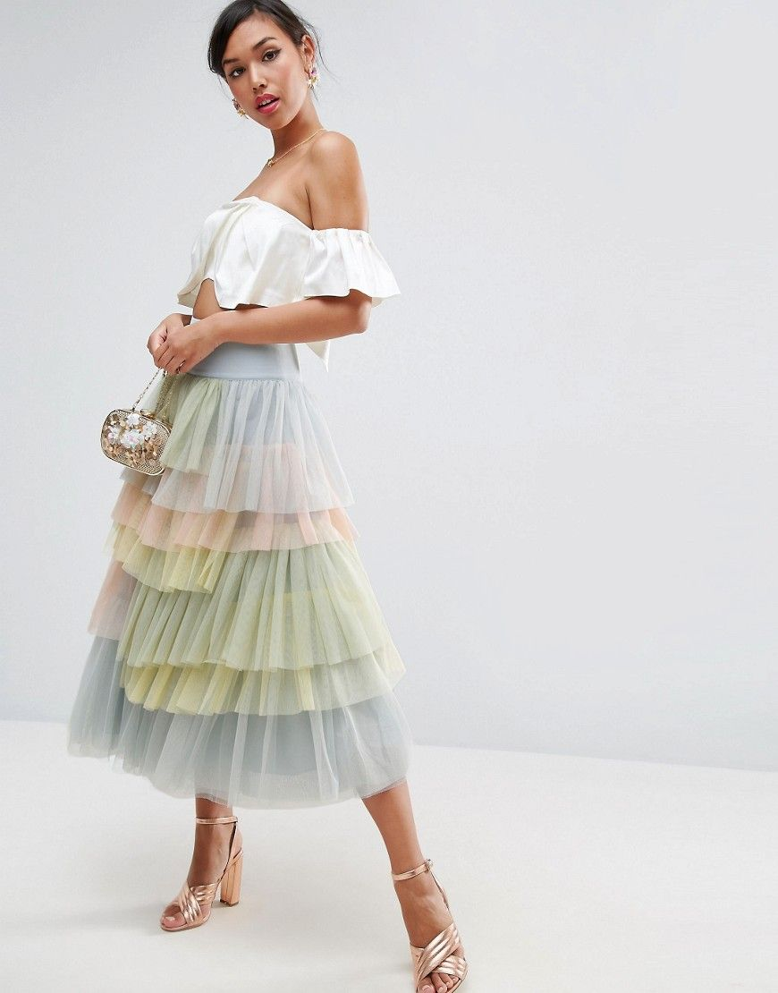 Asos Tulle Prom Skirt In Rainbow Colors Multi