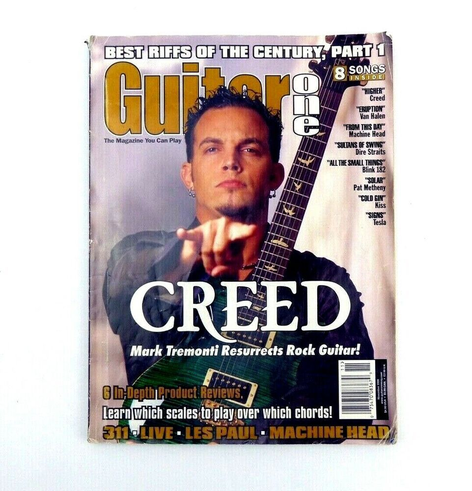 Guitar One Magazine Nov 1999 Creed Van Halen Tesla Kiss Pat Matheny Les Paul Mark Tremonti Van Halen Tremonti