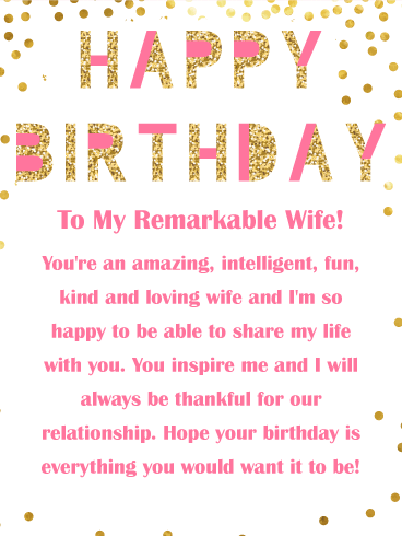 Thankful For Our Relationship Happy Birthday Card For Wife Happy