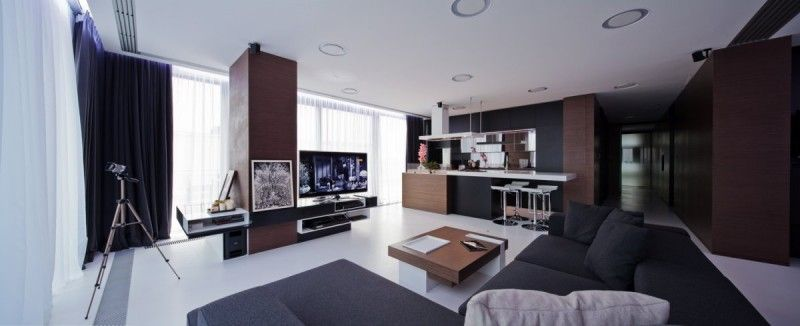 Apartment Interior in Romania by Square ONE Wide screen tv, Wooden