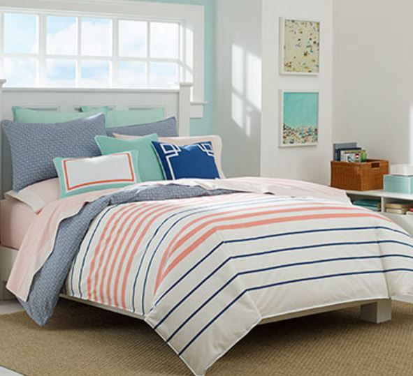 Nautical Coral And Navy Striped Bedding Comforter Sets Duvet Sets Twin Comforter Sets